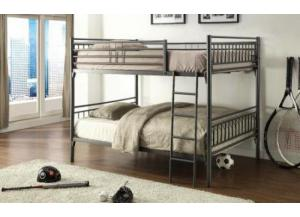 Graphite Finish Full Over Full Metal Bunkbed,Home Source Industries