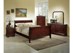 Louis Philippe Cherry Dresser, Mirror and Queen Bed