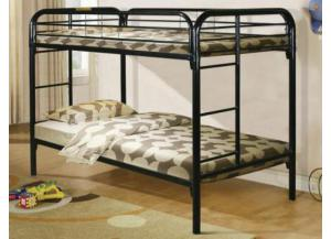 Black Metal Twin/Twin Bunkbed,Home Source Industries
