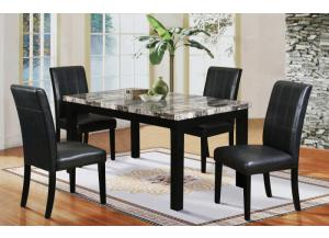 Hazelwood Black Faux Marble Dinette Table and 4 Faux Leather Chairs,Home Source Industries