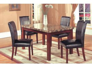 Hazelwood Cherry Faux Marble Dinette Table and 4 Faux Leather Side Chairs,Home Source Industries