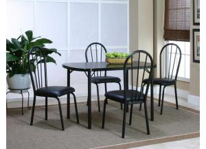 Ebony Dinette Table and 4 Side Chairs,Cramco