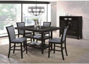 Dark Walnut & Glass Contemporary Counter Height Dining Set,Home Source Furniture